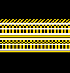 Set stripes yellow black color industrial pattern vector