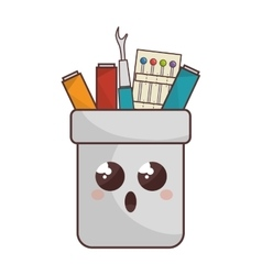 Sewing set comic character isolated icon vector
