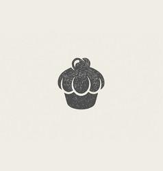 silhouette retro emblem cupcake with cream vector image