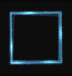 Square neon light tracing effect vector