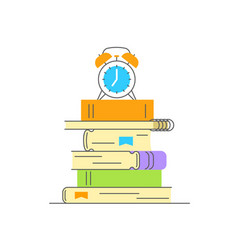 stack of books with alarm clock on top vector image
