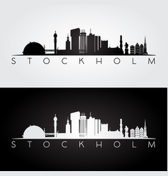 Stockholm skyline and landmarks silhouette vector