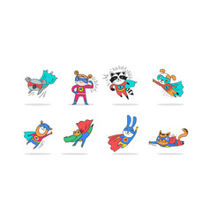 Superhero cute hand drawn animals vector