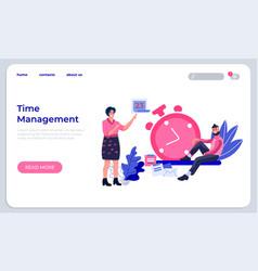 Time management landing page productivity vector
