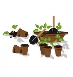 Transplanting flower seedlings vector