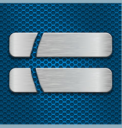 Two brushed metal plates on blue perforated vector