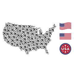 Usa map stylized composition of jet plane vector