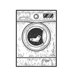 Washing machine with sock sketch vector