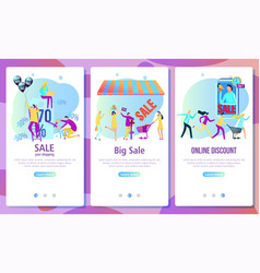 web page design template for online shopping and vector image