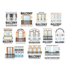 windows and balconies icons house design vector image