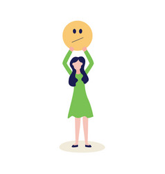 woman with feedback negative emoticon flat vector image