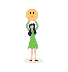 Woman with feedback negative emoticon flat vector