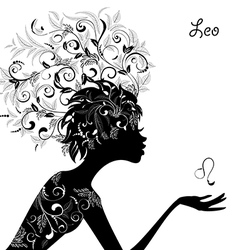 Zodiac sign leo fashion girl vector image