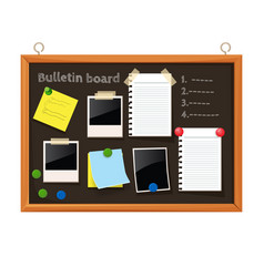 bulletin board with paper notes do list on black vector image