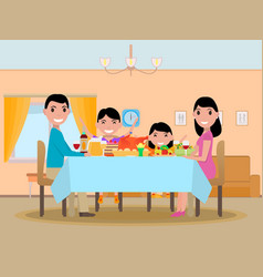 cartoon happy family festive dinner table vector image
