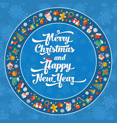 christmas and happy new year flat vector image