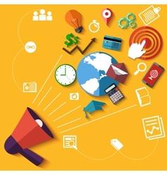 Digital marketing concept with megaphone vector image