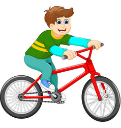 funny boy cartoon riding bicycle vector image