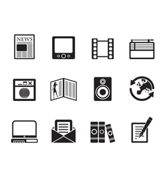 Silhouette Media and information icons vector image