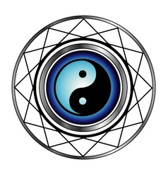 Ying Yang symbol with blue glow vector image vector image