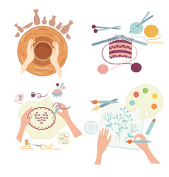 arts and crafts hobby activities workshops vector image