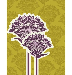 Beautiful purple bluebells on a seamless green bac vector image