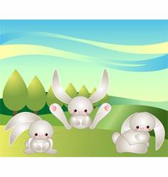 bunnies at play vector image vector image