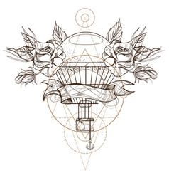 hot air balloon with roses outline isolated on vector image