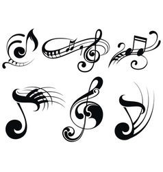 Music notes on staves vector image
