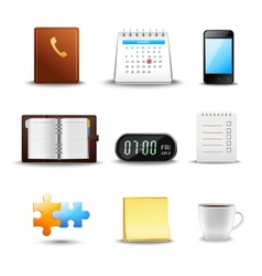 Realistic Time Management Icons vector image vector image