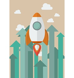 Rocket flying into the sky against growing up vector image vector image