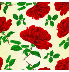 seamless texture red rose stem with leaves vector image