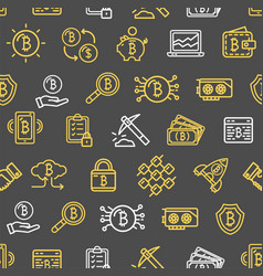 bitcoin currency seamless pattern background on a vector image