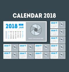 cartoon calendar event planner 2018 set vector image vector image
