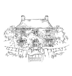 Hand made sketch of old house vector image vector image