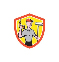 House Painter Paint Roller Handyman Cartoon vector image vector image