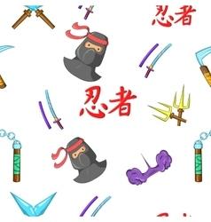Ninja pattern cartoon style vector image