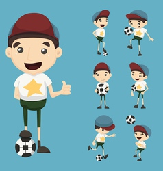 Set of boy play football vector image vector image