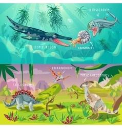 Beasts jurassic horizontal banners vector