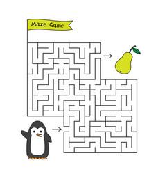 cartoon penguin maze game vector image