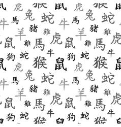 Chinese zodiac symbols black hieroglyphs vector