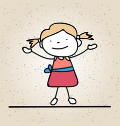 hand drawing happy girl line art abstract people vector image vector image