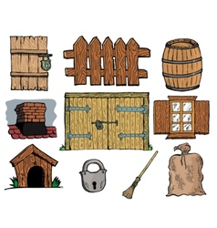 Set of different vintage objects vector image
