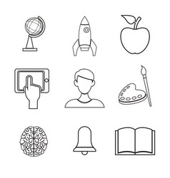 white background with silhouette icons academic vector image vector image