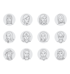 Women avatar set thin line vector image vector image