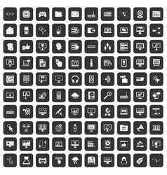 100 computer icons set black vector