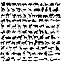 125 high quality different animals silhouettes vector image