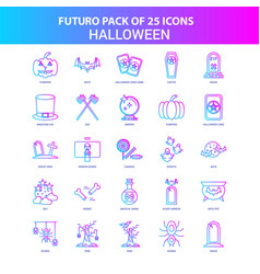 25 blue and pink futuro halloween icon pack vector