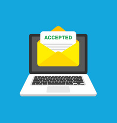 accepted email in envelope vector image