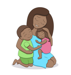 Afro american mother with children vector